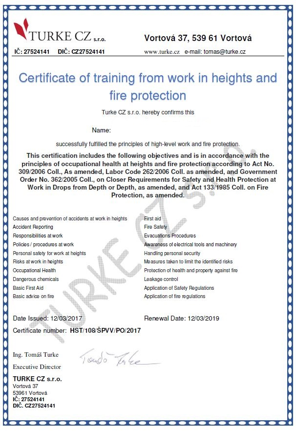 Certificate of training from work in heights and fire protection