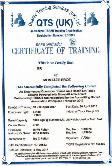 Certificate of training on Reach Lift Truck